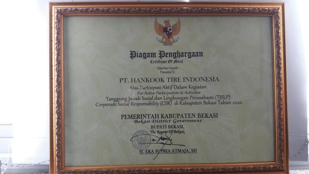 Jelang Tutup Tahun 2020, Hankook Tire Kembali Raih Penghargaan dari Pemerintah Kabupaten Bekasi di Bidang CSR